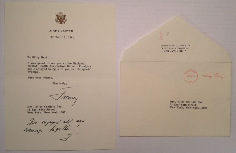 Typed Letter Signed with a Handwritten Postscript. Jimmy CARTER, 1924 -.