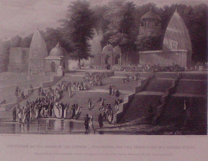 Sutteeism on the Banks of the Ganges Preparing for the Immolation of a Hindoo Widow. J. REDAWAY.
