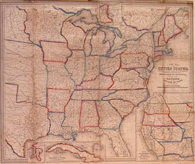 A New Map of the United States. Upon which are delineated its vast works of Internal communication, routes across the continent &c. Showing also Canada and the Island of Cuba. Wellington WILLIAMS.