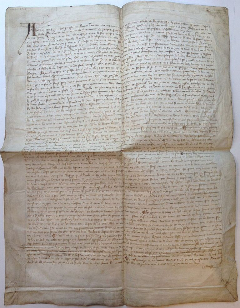 14th-Century Document -- a Declaration of the Sale of a House. PARIS REAL ESTATE.