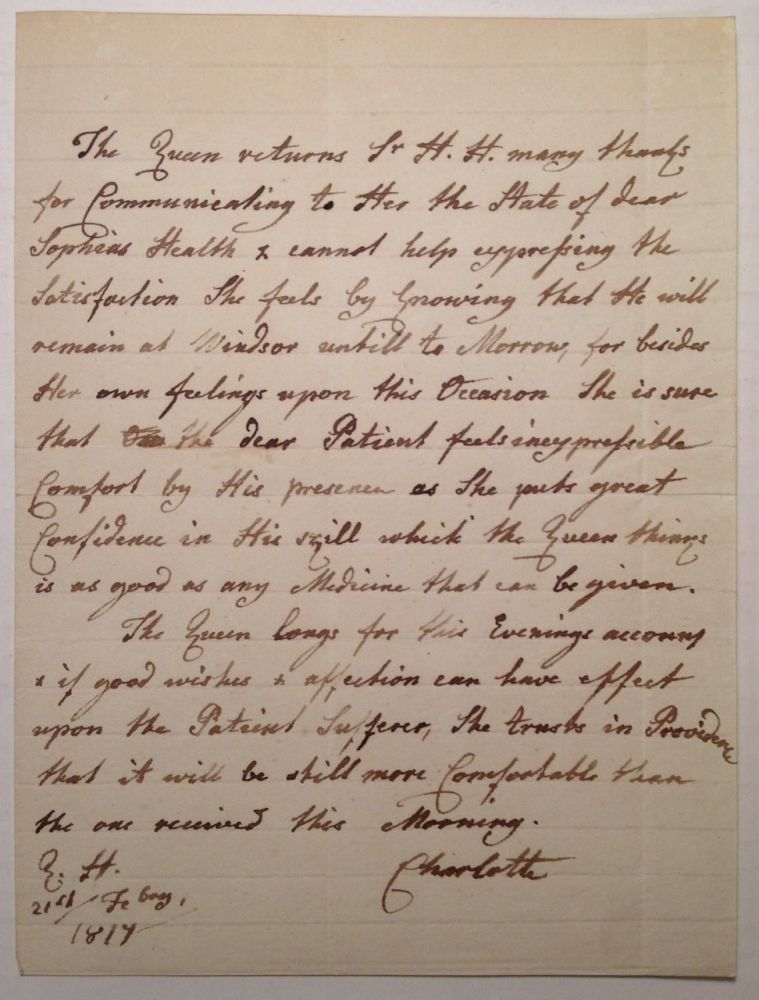 """Autographed Letter Signed """"Charlotte"""" by the Queen of England. Sophia CHARLOTTE, 1744 - 1818."""