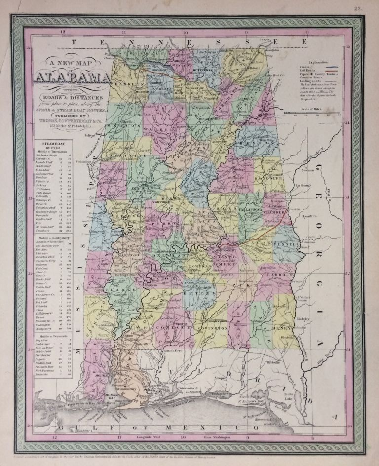 A New Map of Alabama wih Its Roads & Distances from place to place, along the Stage and Steam Boat Routes. COWPERTHWAIT THOMAS, CO.