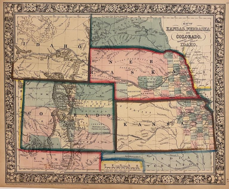 Map of Kansas, Nebraska and Colorado. Showing also the Eastern Portion of Idaho. Samuel Augustus Jr MITCHELL.