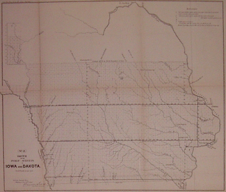 Sketch of the Public Surveys in Iowa and Dakota. (No. 2). SURVEYOR GENERAL'S OFFICE.