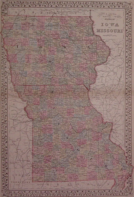 County & Township Map of the States of Iowa and Missouri. Samuel Augustus Jr MITCHELL.