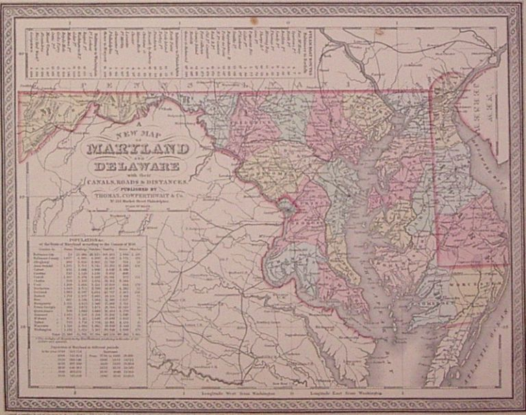 A New Map of Maryland & Delaware with their Canals, Roads & Distances. Charles DESILVER.