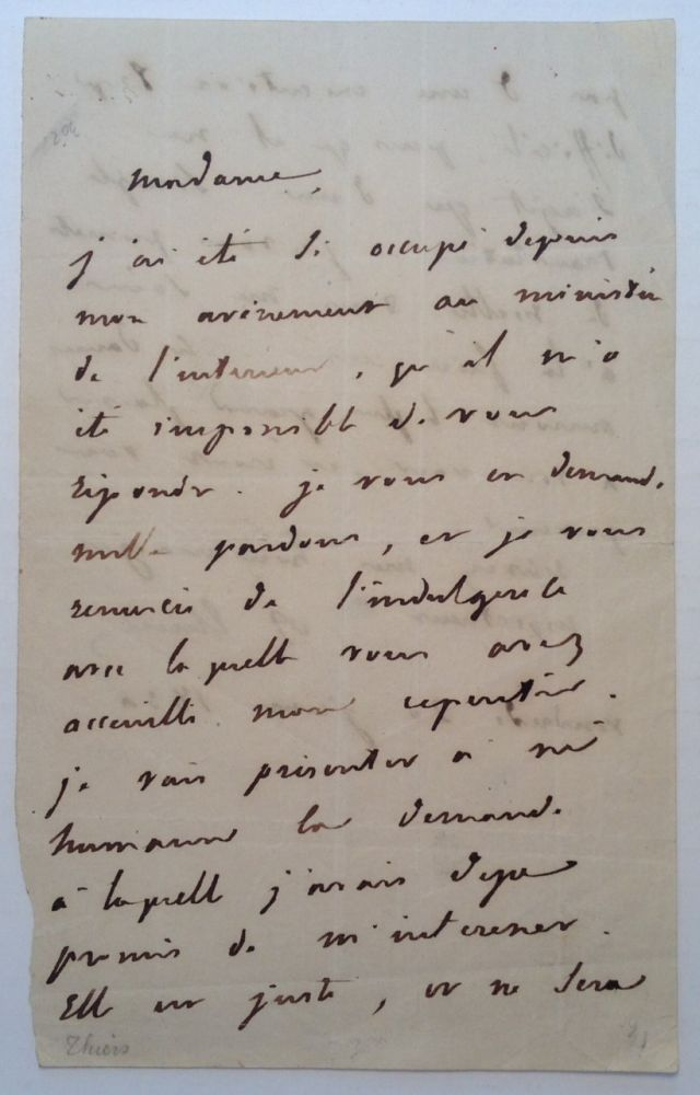 Autographed Letter Signed in French. Louis Adolphe THIERS, 1797 - 1877.