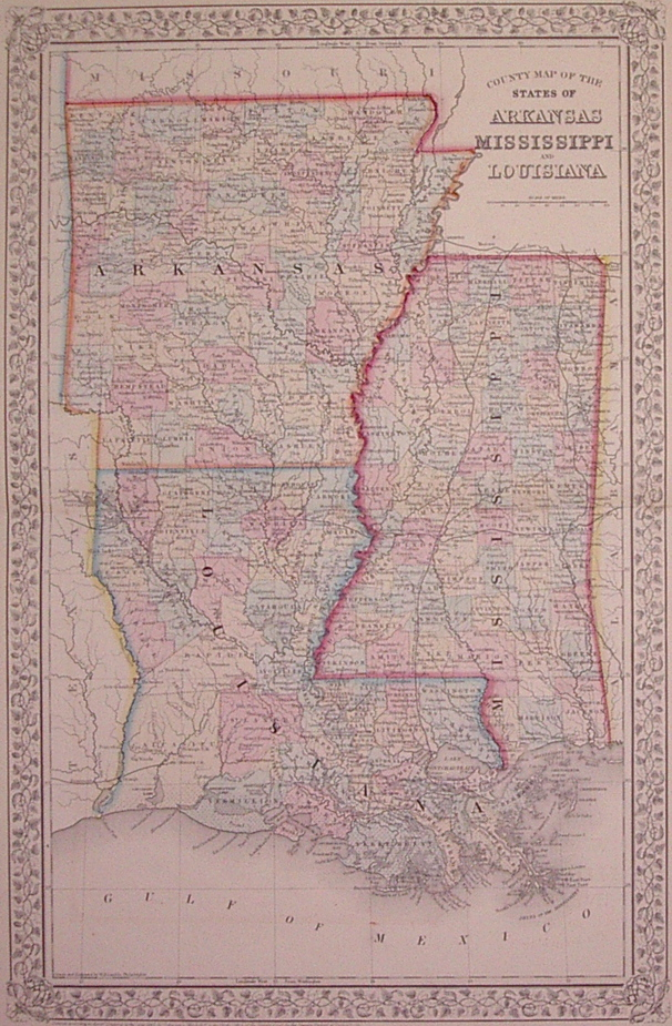 County Map of the States of Arkansas Mississippi and Louisiana. Samuel Augustus Jr MITCHELL.