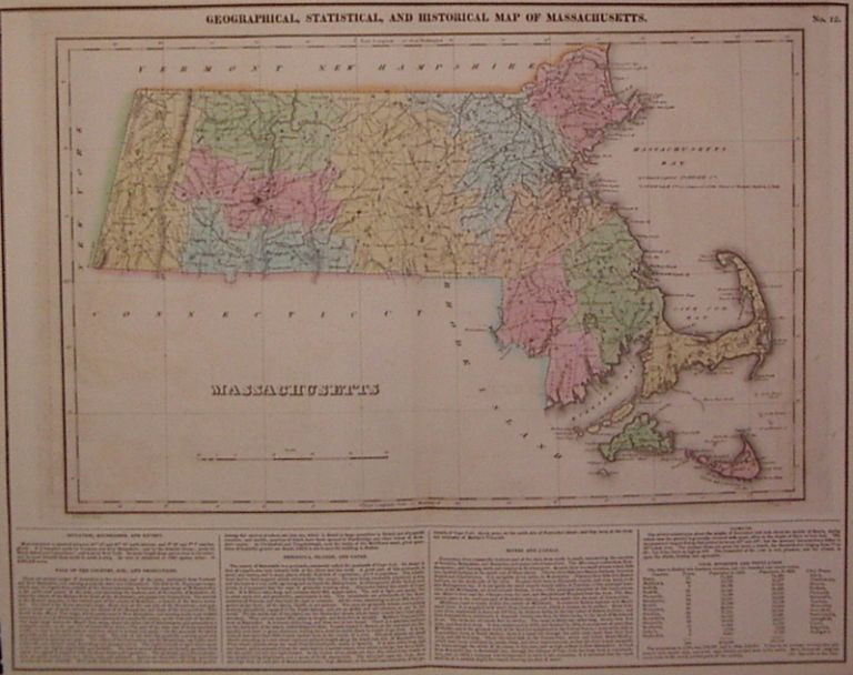 Geographical, Statistical, and Historical Map of Massachusetts. CAREY, LEA.