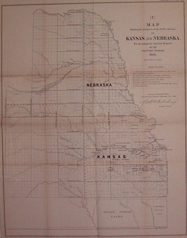 Map Showing the progress of the Public Surveys in Kansas and Nebraska, to accompany Annual Report of the Surveyor General. Mark DELAHAY.