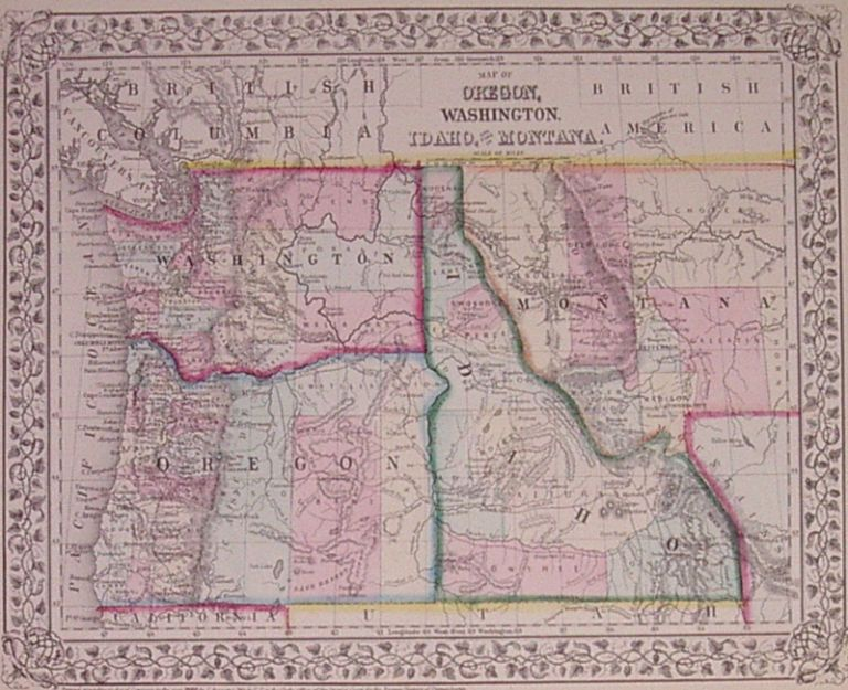 Map of Oregon, Washington, Idaho and part of Montana. Samuel Augustus Jr MITCHELL.