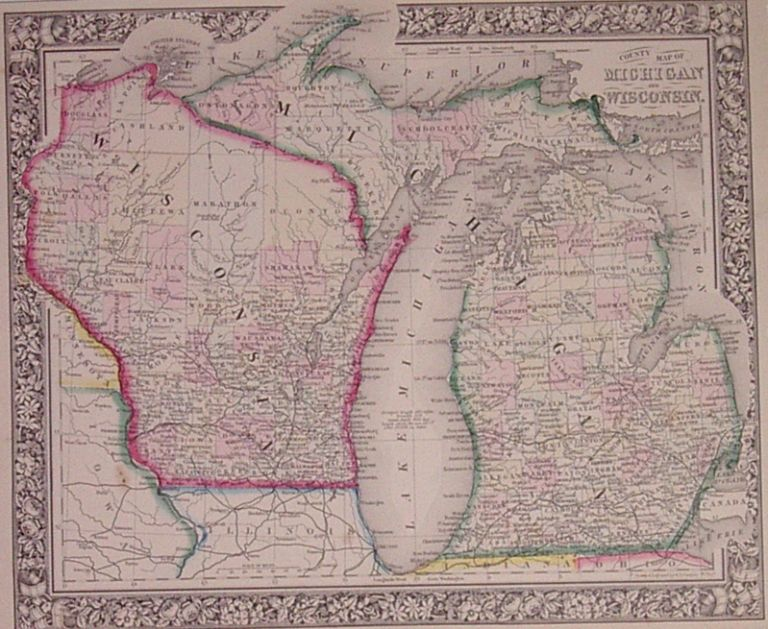 County Map of Michigan and Wisconsin. Samuel Augustus Jr MITCHELL.