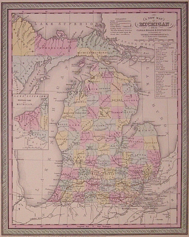 A New Map of Michigan with its Canals, Roads & Distances. COWPERTHWAIT THOMAS, CO.