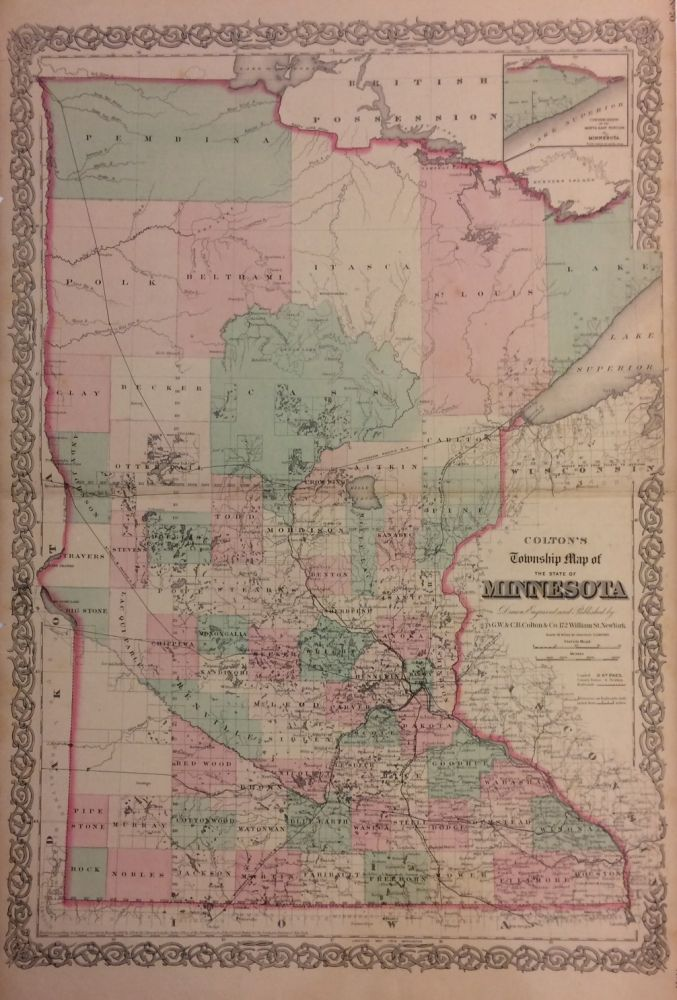 Colton's Township Map of the State of Minnesota. G. W. COLTON, C B.