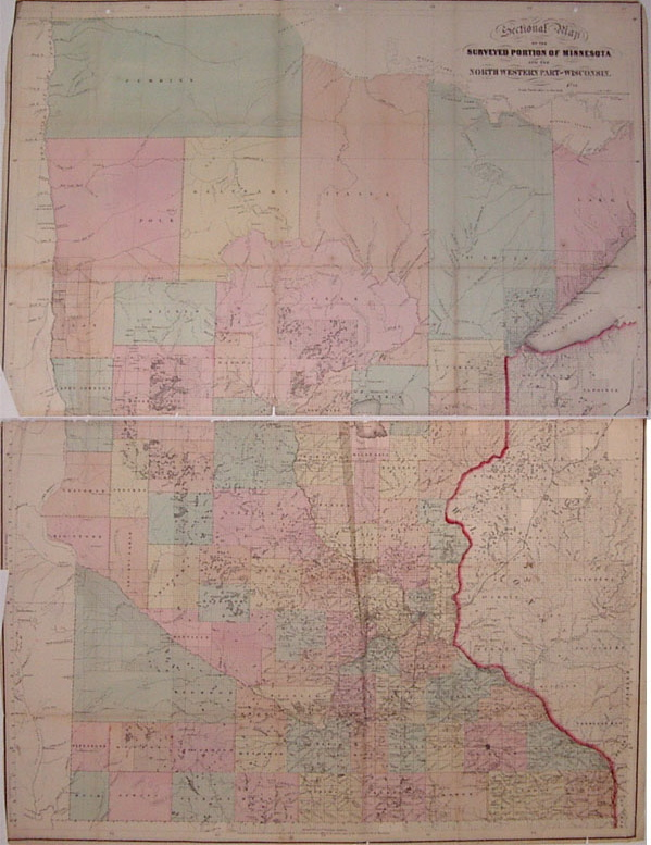 Sectional Map of the Surveyed Portion of Minnesota and the North Western Part of Wisconsin. J. S. SEWALL.