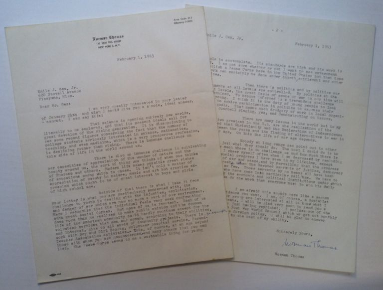 Typed Letter Signed on personal stationery. Norman THOMAS, 1884 - 1968.