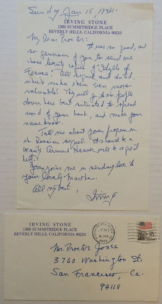 """Autographed Letter Signed """"Irving"""" Irving STONE, 1903 - 1989."""