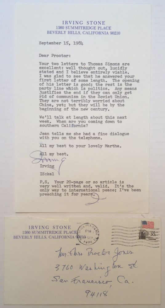 "Typed Letter Signed ""Irving"" on personal letterhead. Irving STONE, 1903 - 1989."