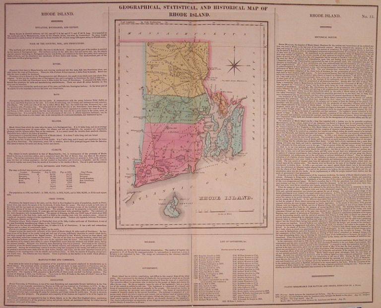 Geographical, Historical, and Statistical Map of Rhode Island. CAREY, LEA.