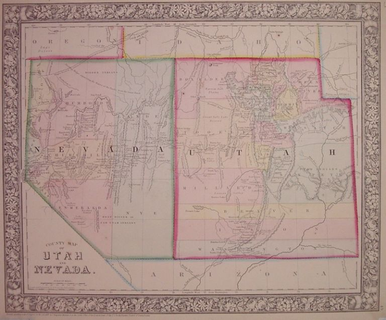 County Map of Utah and Nevada. Samuel Augustus Jr MITCHELL.