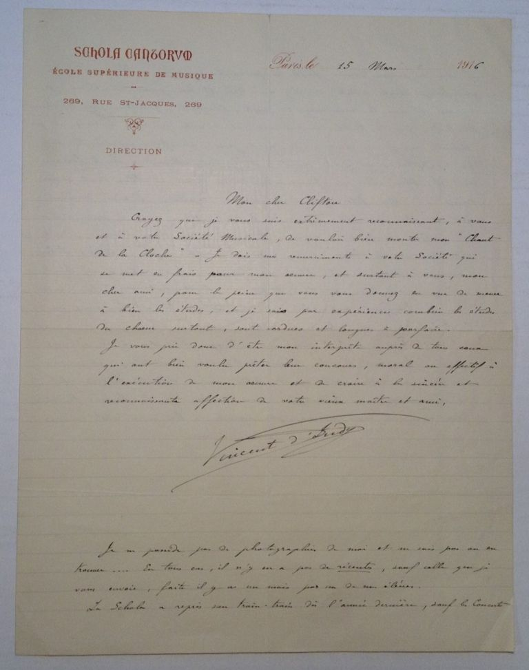 Autographed Letter Signed in French. Vincent D'INDY, 1851 - 1931.