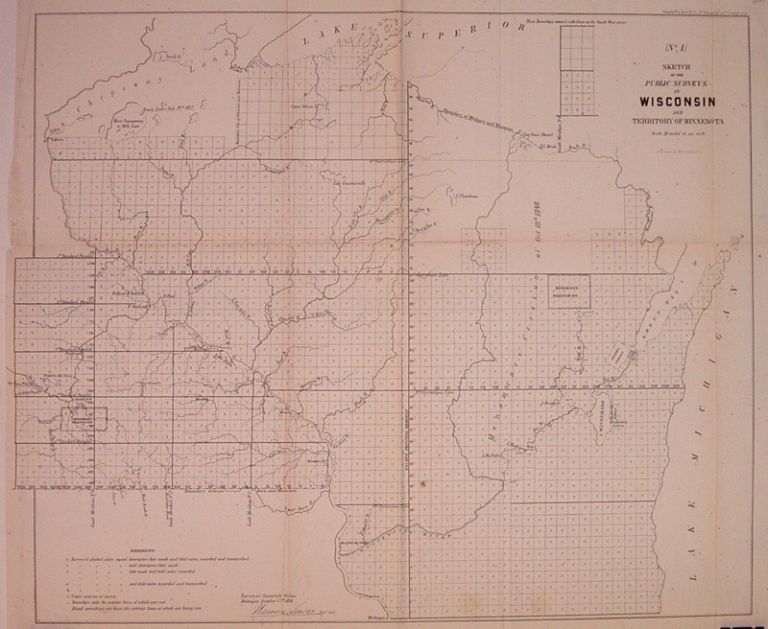 (No. 1) Sketch of the Public Surveys in Wisconsin and Territory of Minnesota. Lewis WARNER.