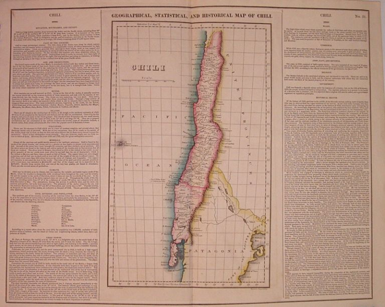 Geographical, Historical, and Statistical Map of Chili. CAREY, LEA.