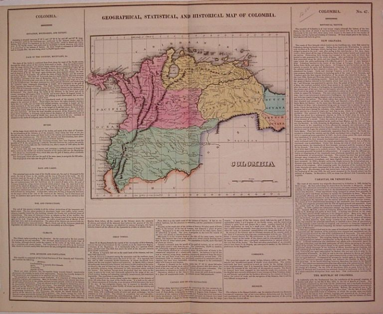 Geographical, Historical, and Statistical Map of Colombia. CAREY, LEA.