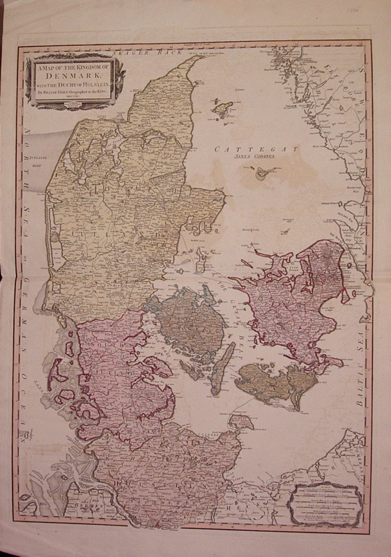 A Map of the Kingdom of Denmark with the Duchy of Holstein. William FADEN.