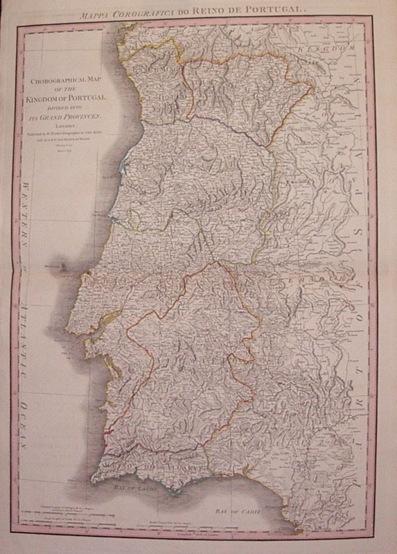 Chorographical Map of the Kingdom of Portugal Divided into it's Grand Provinces. William FADEN.