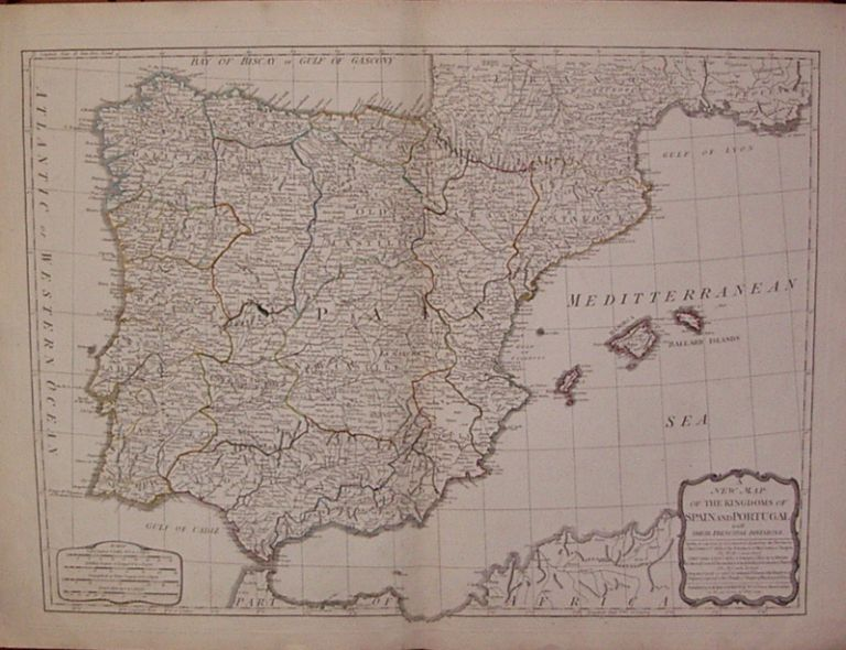 A New Map of the Kingdoms of Spain and Portugal with their Principal Divisions. Thomas KITCHIN.