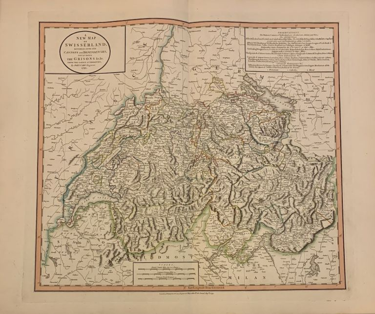 A New Map of Swisserland. Divided into its Cantons and Dependencies, including the Grisons &c&c. John CARY.