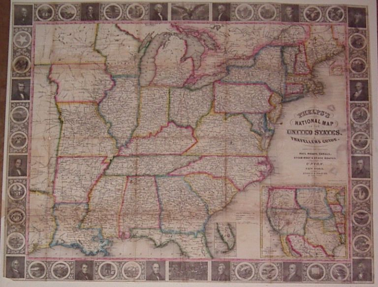 Phelps's National Map of the United States, a Traveller Guide. Embracing the Principal Rail Roads, Canals, Steamboat & Stage Routes, throughout the Union. Humphrey PHELPS.