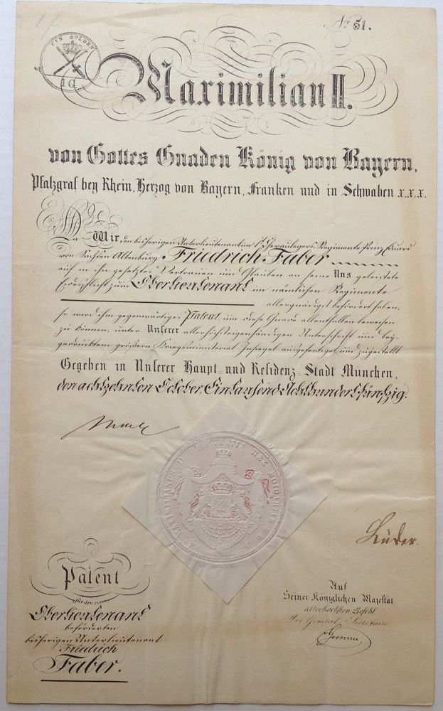 Signed Document. MAXIMILLIAN II, 1811 - 1864.