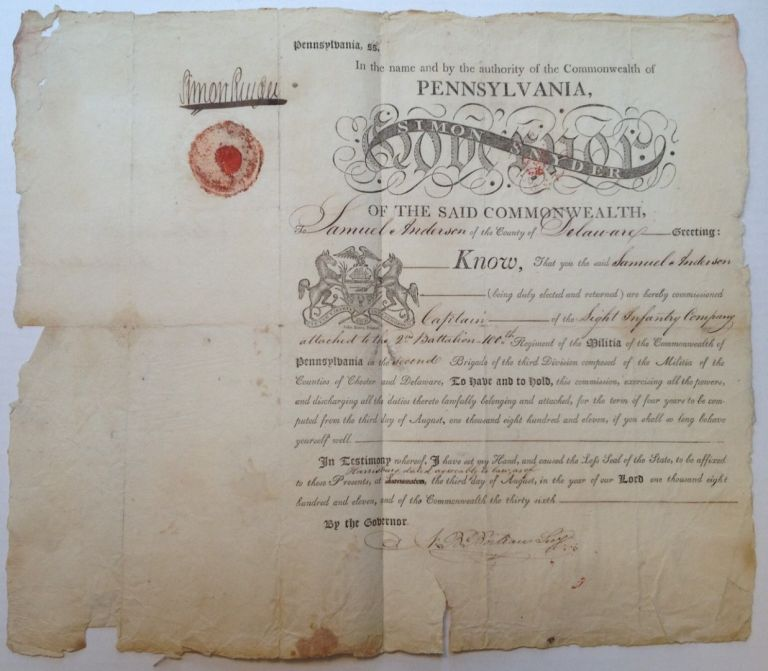 Signed Military Commission. Simon SNYDER, 1759 - 1819.