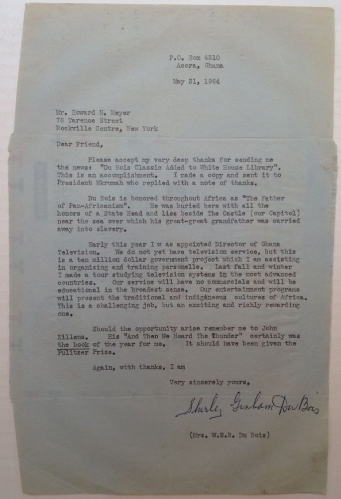 Typed Letter Signed. Shirley Graham DU BOIS, 1896 - 1977.