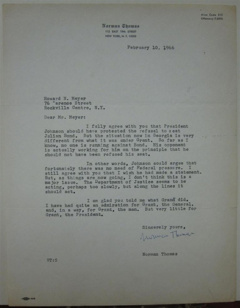 Typed Letter Signed. Norman THOMAS.