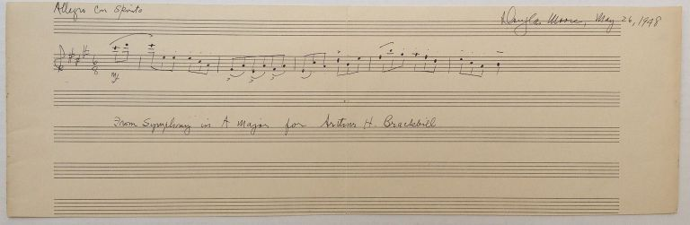Signed Musical Quotation. Douglas MOORE, 1893 - 1969.