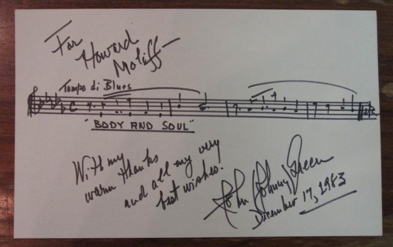 Signed Musical Quotation. Johnny GREEN, 1908 - 1989.