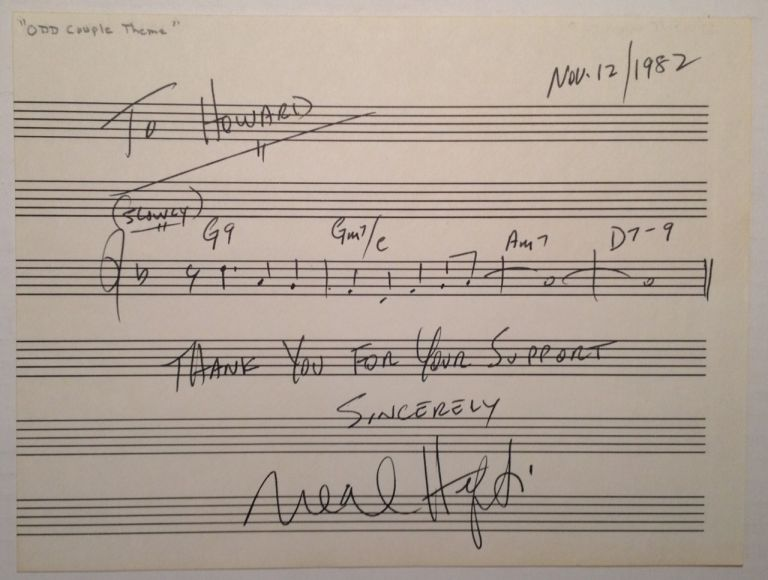 Signed Musical Quotation. Neal HEFTI, 1922 - 2008.