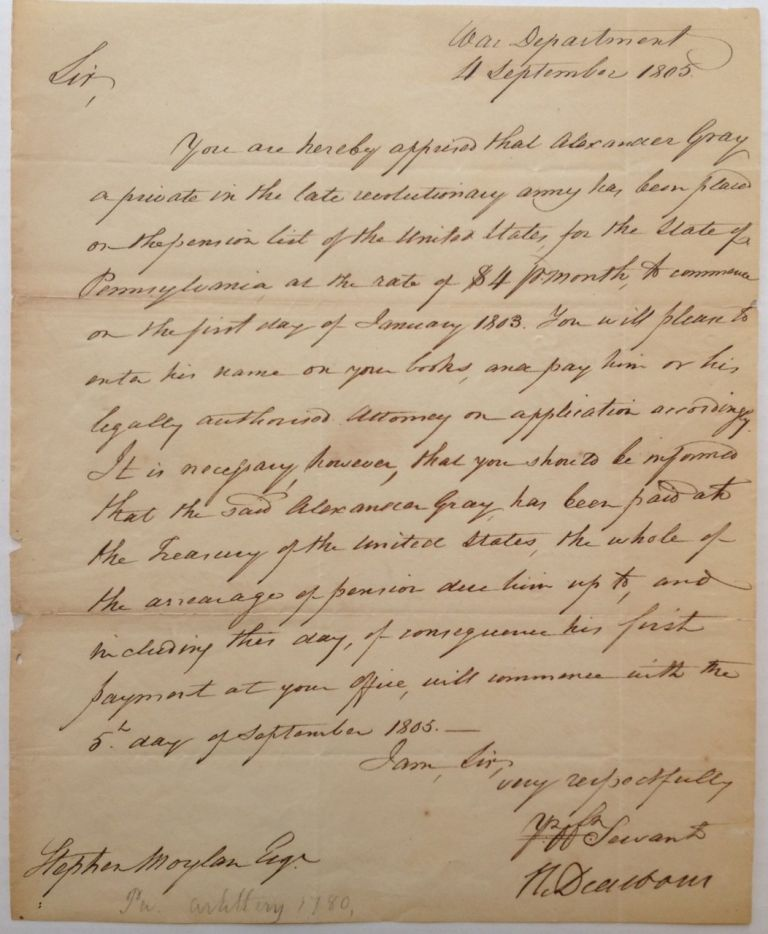 Autograph Letter Signed. Henry DEARBORN, 1751 - 1829.