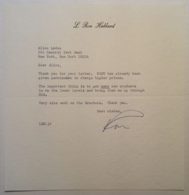 """Typed Letter Signed """"Ron"""" on personal stationery. L. Ron HUBBARD, 1911 - 1986."""