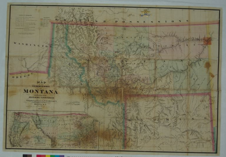 Map of the Territory of Montana with Portions of the Adjoining Territories. W. W. DE LACY.