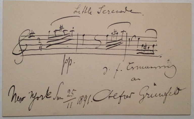 Musical Quotation Signed on the back of his Calling Card. Alfred GRUNFELD, 1852 - 1924.