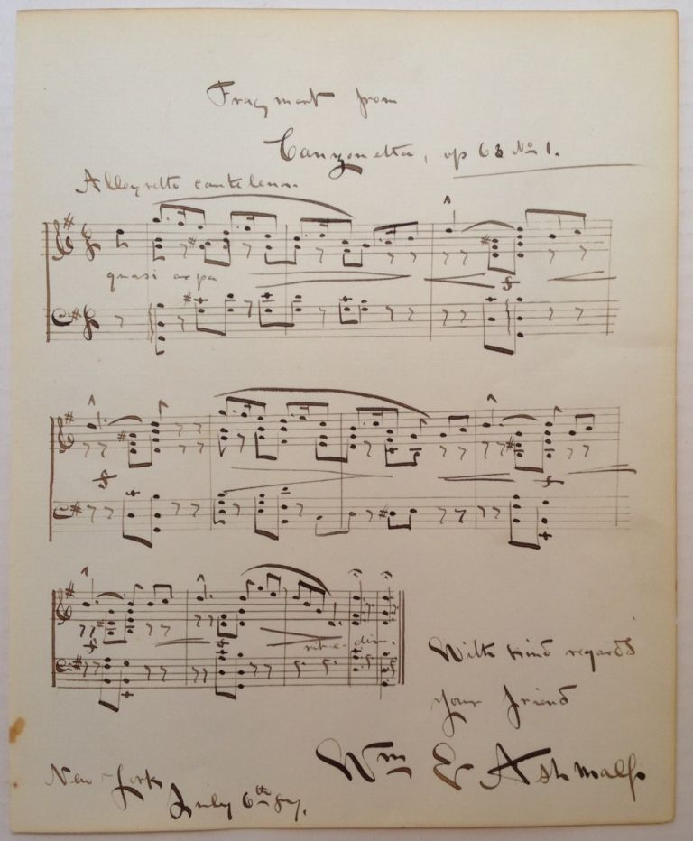 Music Manuscript Signed. William E. ASHMALL, 1859 - 1927.