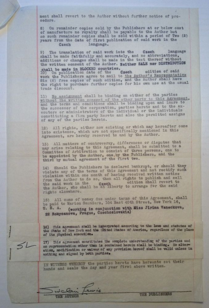 Typed Contract Signed regarding a Czechoslovakian publishing deal. Sinclair LEWIS, 1885 - 1951.