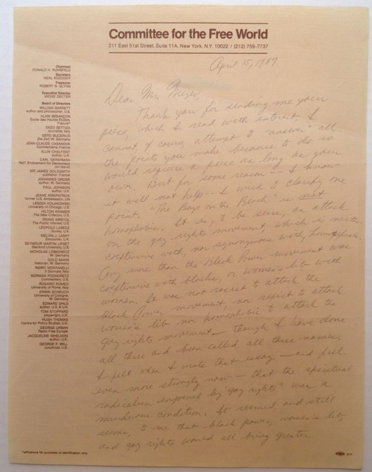 Autographed Letter Signed to a lawyer. Midge DECTER, 1927 -.