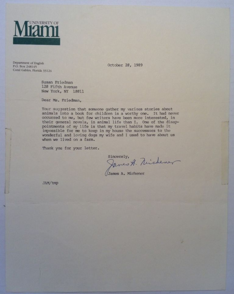 Typed Letter Signed on University of Miami letterhead. James MICHENER, 1907 - 1997.