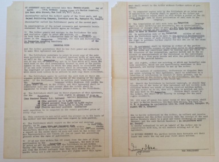 Autographed Document Signed. Irving STONE, 1903 - 1989.