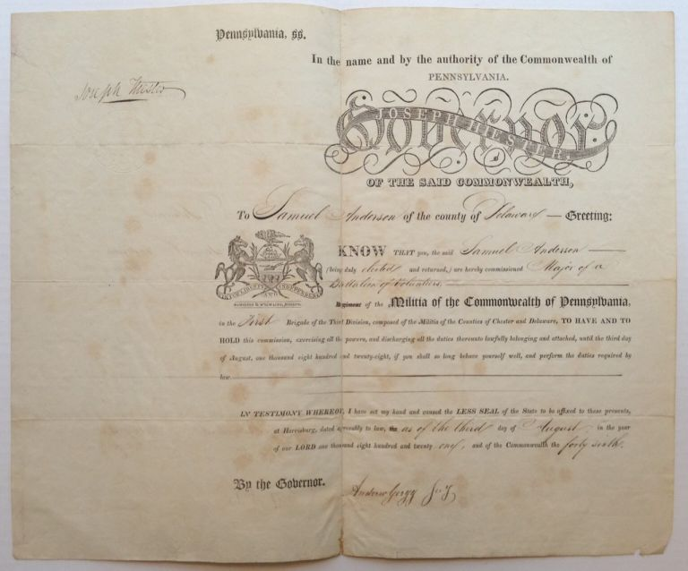 Signed Document as Governor of Pennsylvania. Joseph HIESTER, 1752 - 1832.